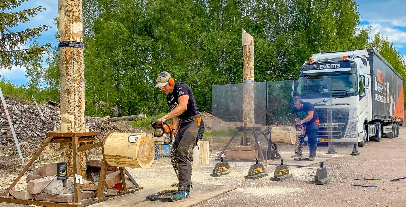 Ferry Svan och Calle Svadling i Stock Saw